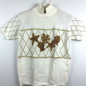 I B Diffusion Womens Sweater Embellished Shells S